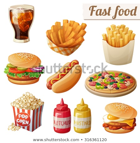 Hot dog hamburger ingesteld fast food maaltijd Stockfoto © robuart