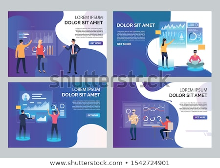 Interactivo realidad Cartoon banner vector establecer Foto stock © robuart