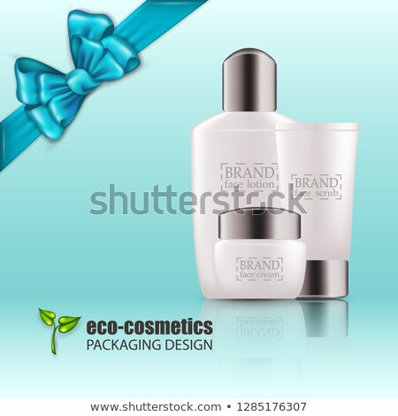 cosmetic bottle poster vector sale flyer empty plastic white package 3d mockup realistic illustr stock photo © pikepicture