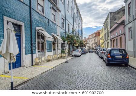 Menigte oude binnenstad straat Lissabon luchtfoto schemering Stockfoto © joyr