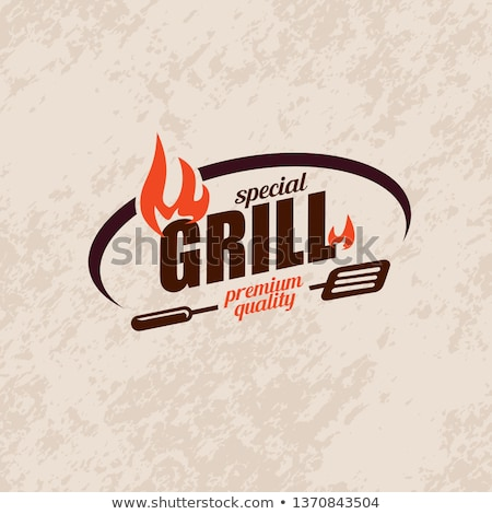 Barbecue Grill Party Emblems in Flame and Food Stock photo © robuart