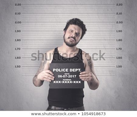 ストックフォト: 暴力団 · 刑務所 · 表 · 手 · 白 · レコード