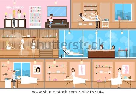 spa center and beauty salon interior cartoon set stock photo © robuart