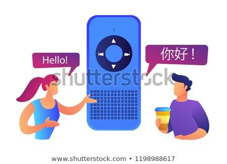 Kettő felhasználók beszél különböző nyelvek okos Stock fotó © RAStudio