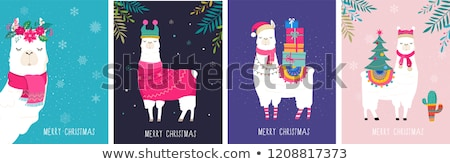 Merry and Bright Cards with Cartoon Characters Stock photo © robuart