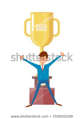 Mann Anzug erhobenen Händen up groß golden Stock foto © robuart