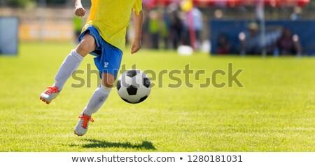 Fiatal labdarúgó rúg labda vízszintes futball Stock fotó © matimix