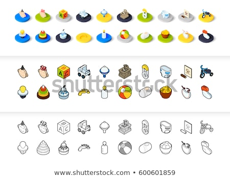 Milk flat outline isometric icons Stock photo © netkov1