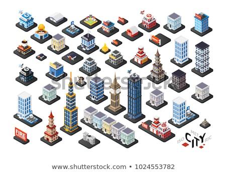 police color isometric concept icons stock photo © netkov1