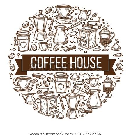 Kroki farklı kupa kahve fincan tabağı Stok fotoğraf © Arkadivna