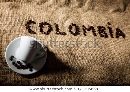 tasse · de · café · grains · de · café · café · noir · sombre · déjeuner - photo stock © alphaspirit