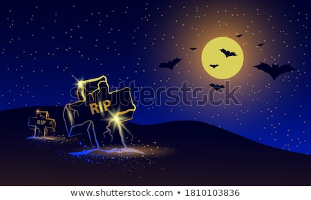 Siyah gece gökyüzü halloween korkutucu uçan ay ışığı Stok fotoğraf © dolgachov