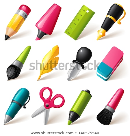 vector set of pen, pencil and eraser cartoon stock photo © olllikeballoon