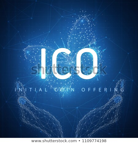 ICO initial coin offering hud banner with hands and butterfly Stock photo © RAStudio