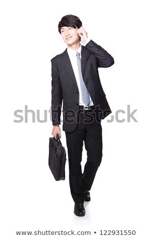 男 ブリーフケース 話し 携帯電話 ベクトル ストックフォト © robuart