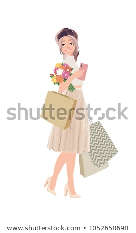 Beautiful woman go shopping with bags and feeling happiness on white background. Cute vector cartoon stock photo © bonnie_cocos