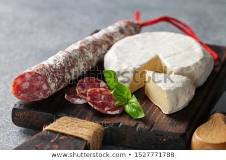 Snack fuet sausages on the wooden background Stock photo © Alex9500
