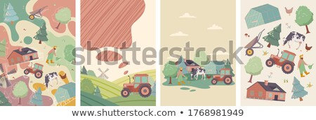 Four scenes of farmyard with people and animals Stock photo © colematt