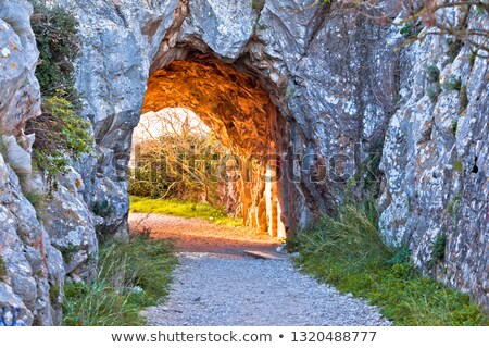 French Alps walkway carved in stone sun light view stock photo © xbrchx