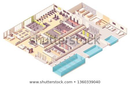 Vector isometric fitness club with swimming pool stock photo © tele52