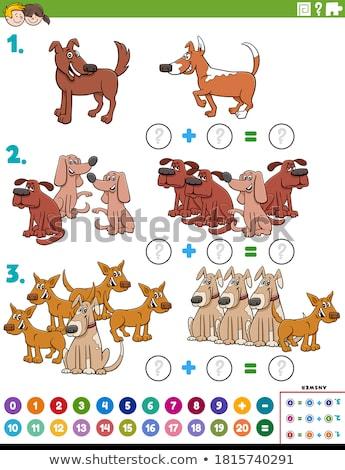 szám · tíz · 10 · kutyák · rajz · illusztráció - stock fotó © izakowski