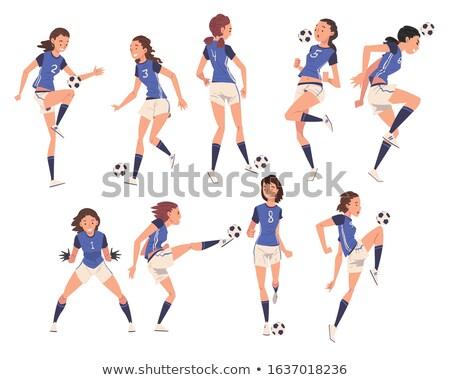 vektör · karikatür · siluet · futbol · spor - stok fotoğraf © colematt
