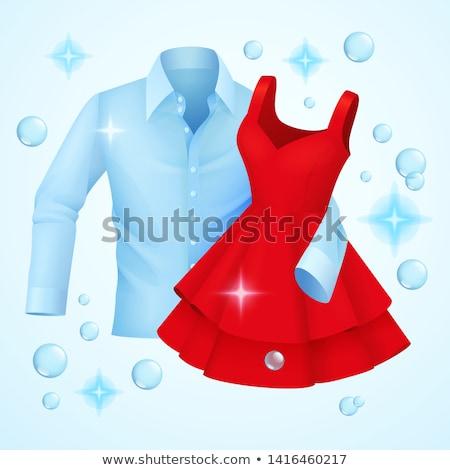 Temizlemek elbise mavi gömlek kırmızı elbise sabun köpüğü Stok fotoğraf © MarySan