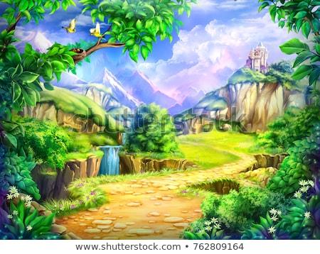 Zamek bajki scena ilustracja budynku tle Zdjęcia stock © bluering