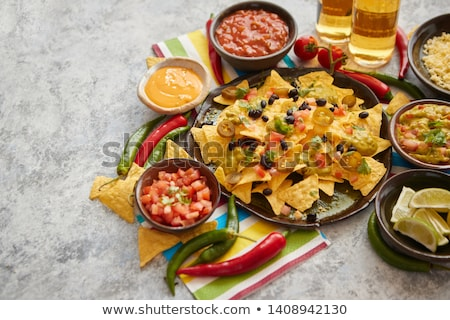 salsa · chips · nachos · tequila · tradicional · mexicano - foto stock © dash