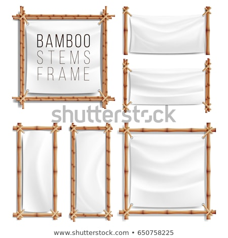 blank white canvas in bamboo frames set vector stock photo © pikepicture