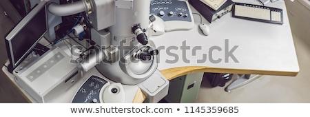 Elétron microscópio científico laboratório bandeira longo Foto stock © galitskaya
