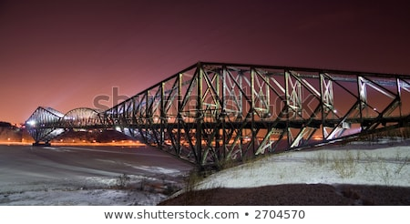 quebec bridge is a riveted steel truss structure stock photo © lopolo