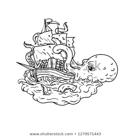 kraken attacking sailing ship doodle art stock photo © patrimonio