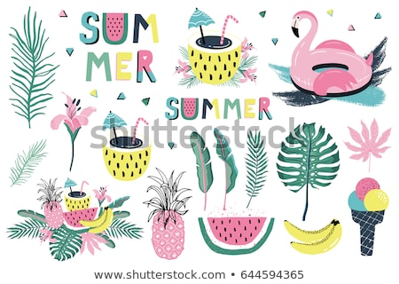 Summer Objects or Elements, Flamingo and Flowers Stock photo © robuart