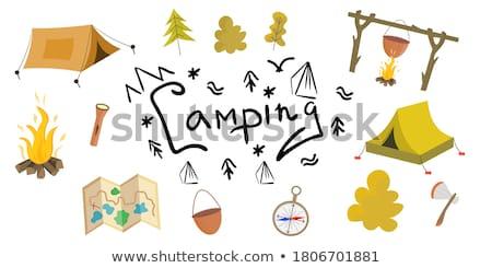 Turista tábortűz gyűjtemény láng fehér vektor Stock fotó © robuart