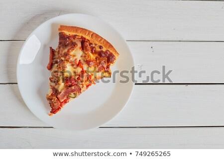 Pizza sonka zöldség sekély étel étterem Stock fotó © fanfo