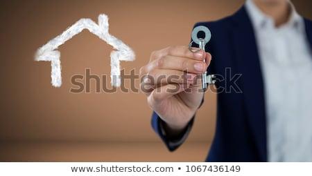 Nő tart kulcs digitális kompozit minta hátterek Stock fotó © wavebreak_media