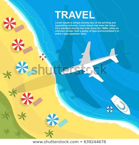 airplane flying over the seashore, flat design stock photo © shai_halud