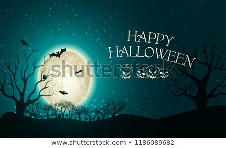 evil with pumpkins on turquoise background. Stock photo © choreograph