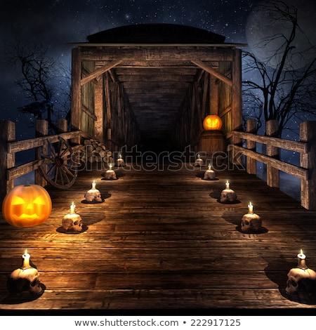 Halloween koponya gyertyák szelektív fókusz fal háttér Stock fotó © furmanphoto