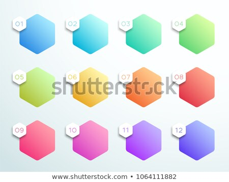 number bullet points in 3d hexagon shape from one to twelve stock photo © sarts