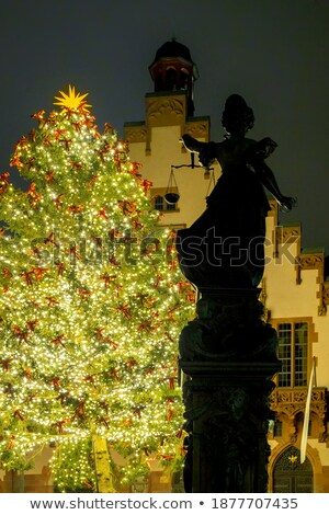 christmas tree in front of the town hall frankfurt stock photo © borisb17