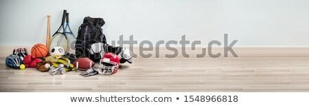 Farklı tip spor malzemeleri ahşap büro beyaz Stok fotoğraf © AndreyPopov