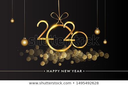 new year 2020 party flyer poster in black and gold colors Stock photo © SArts