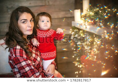 moeder · kind · christmas · Rood - stockfoto © ElenaBatkova