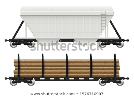 Railroad hopper and log cars vector illustration Stock photo © YuriSchmidt