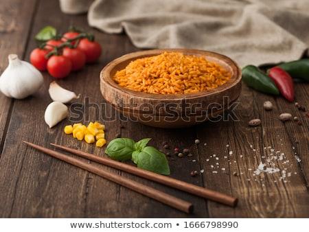 木製 ボウル 赤 長い 穀物 ストックフォト © DenisMArt