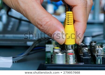 Audio Video Hand isoliert weiß Fernsehen Stock foto © nomadsoul1