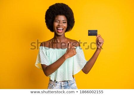 Lányok kéz műanyag szemek citromsárga copy space Stock fotó © artjazz
