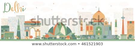 Résumé Delhi Skyline couleur voyage d'affaires tourisme Photo stock © ShustrikS